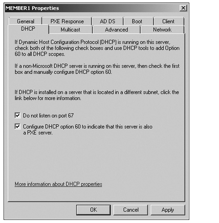 The DHCP tab of the WDS server settings dialog box