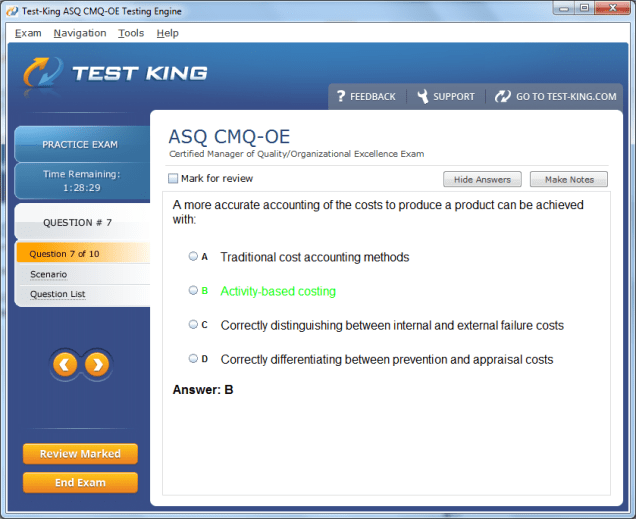 Cmq-oe testking asq exam questions certification with cmq-oe answers.
