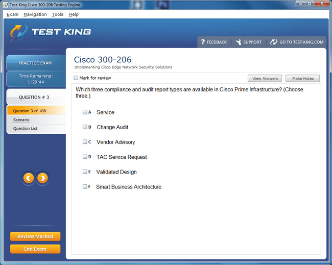 300-206 SENSS Testking Cisco Exam Questions - CCNP Security